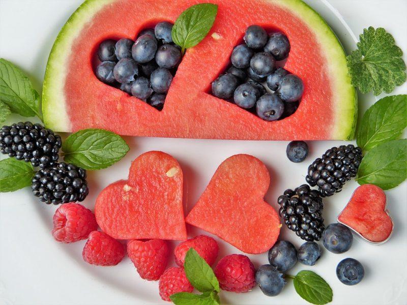 melon, hallon, björnbär och blåbär