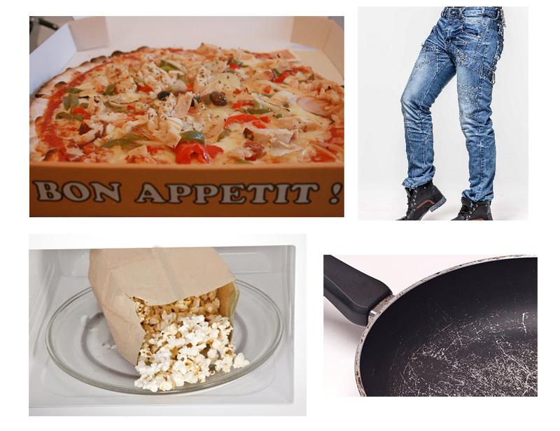 Pizza, jeans, micropopcorn, teflonpanna