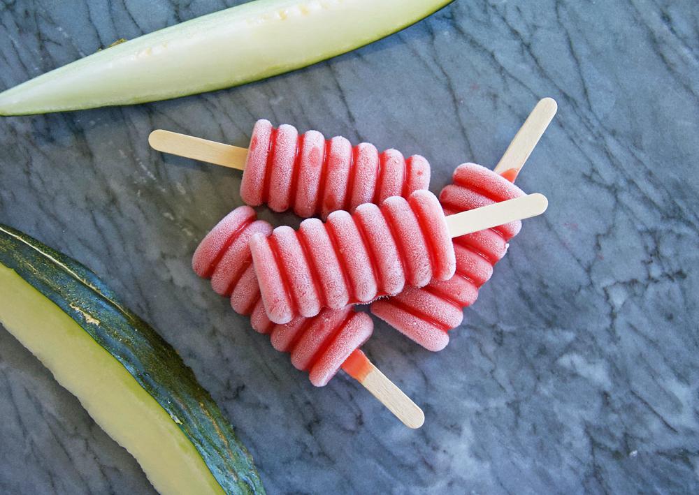 Melon och jordgubbsisglass